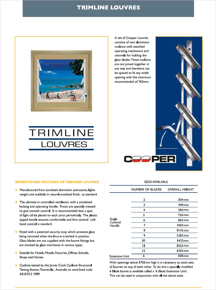 Trimline Blade Louvre Fittings from Ullrich Aluminium