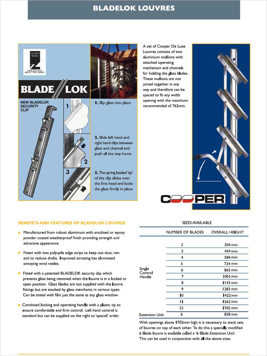Bladelok Blade Louvre Fittings from Ullrich Aluminium