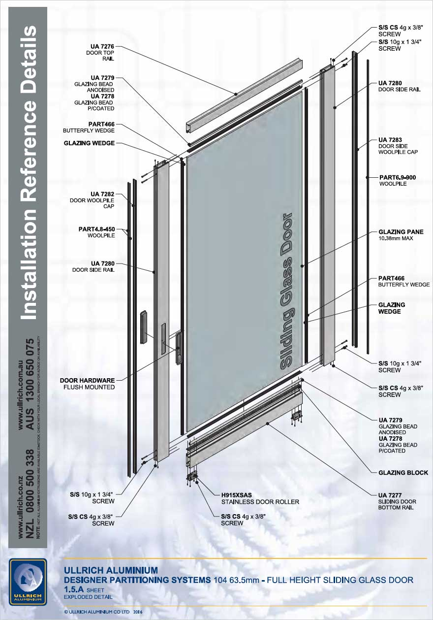 Designer Partitioning System - 104 63.5mm full height Sliding glass door Exploded detail