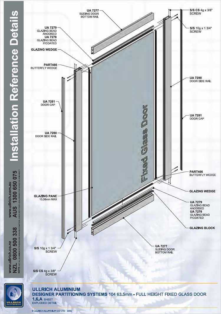 Designer Partitioning System - 104 63.5mm full height height fixed glass door exploded detail