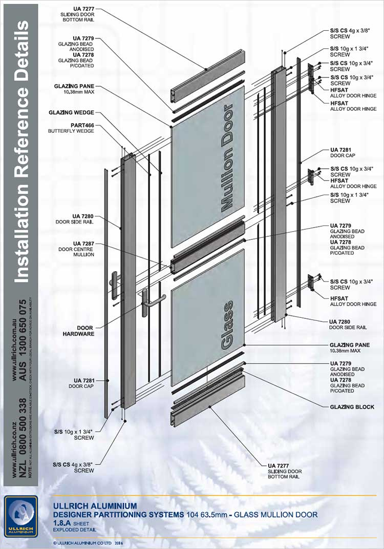 Designer Partitioning System - 104 63.5mm Glass Mullion Door exploded view