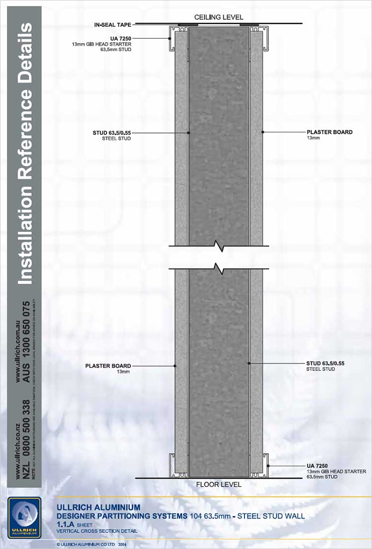 Designer Partitioning System 104 63.5mm steel stud wall vertical cross section detail