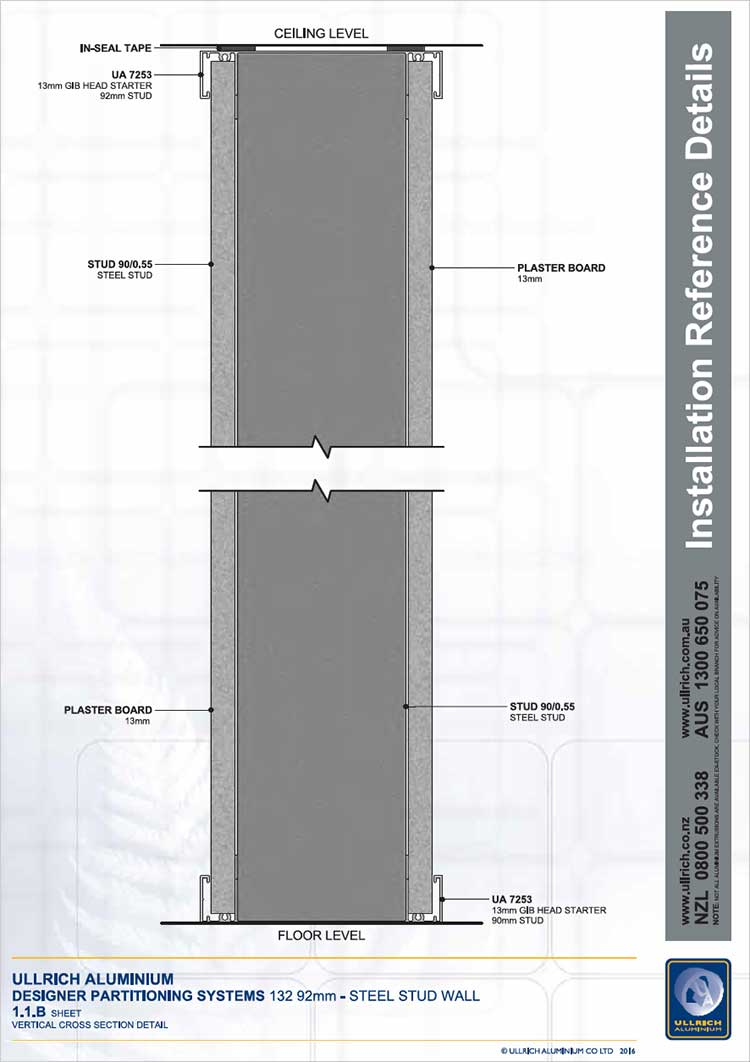 Designer Partitioning System 132 92mm steel stud wall vertical cross section detail