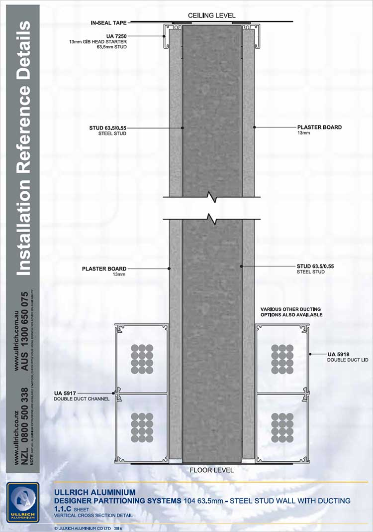 Designer Partitioning System 132 92mm steel stud wall with ducting vertical cross section detail