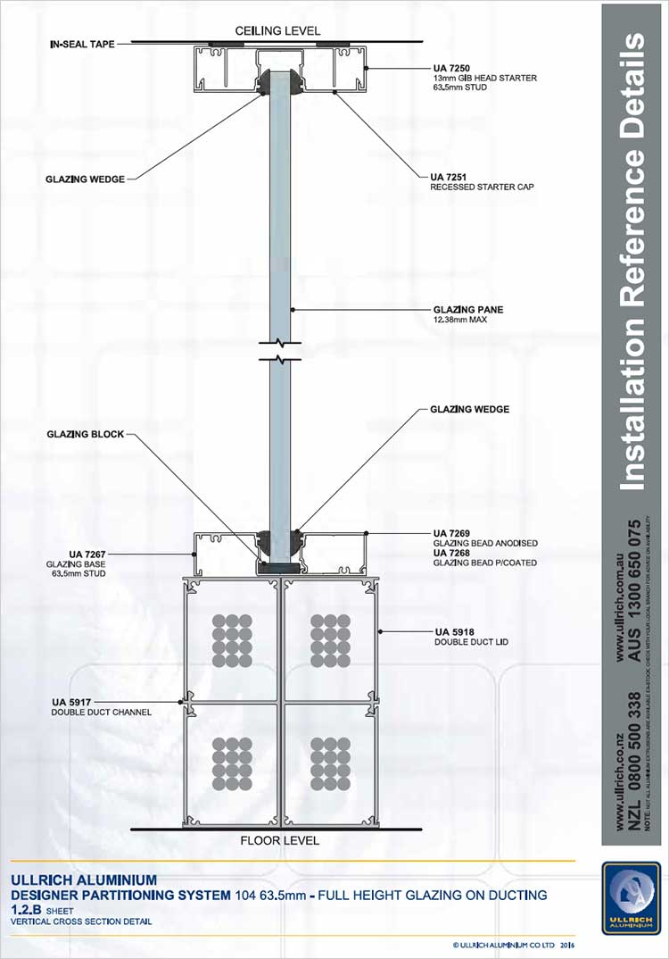 Designer Partitioning System - 104 63.5mm full height glazing on Ducting vertical cross section detail