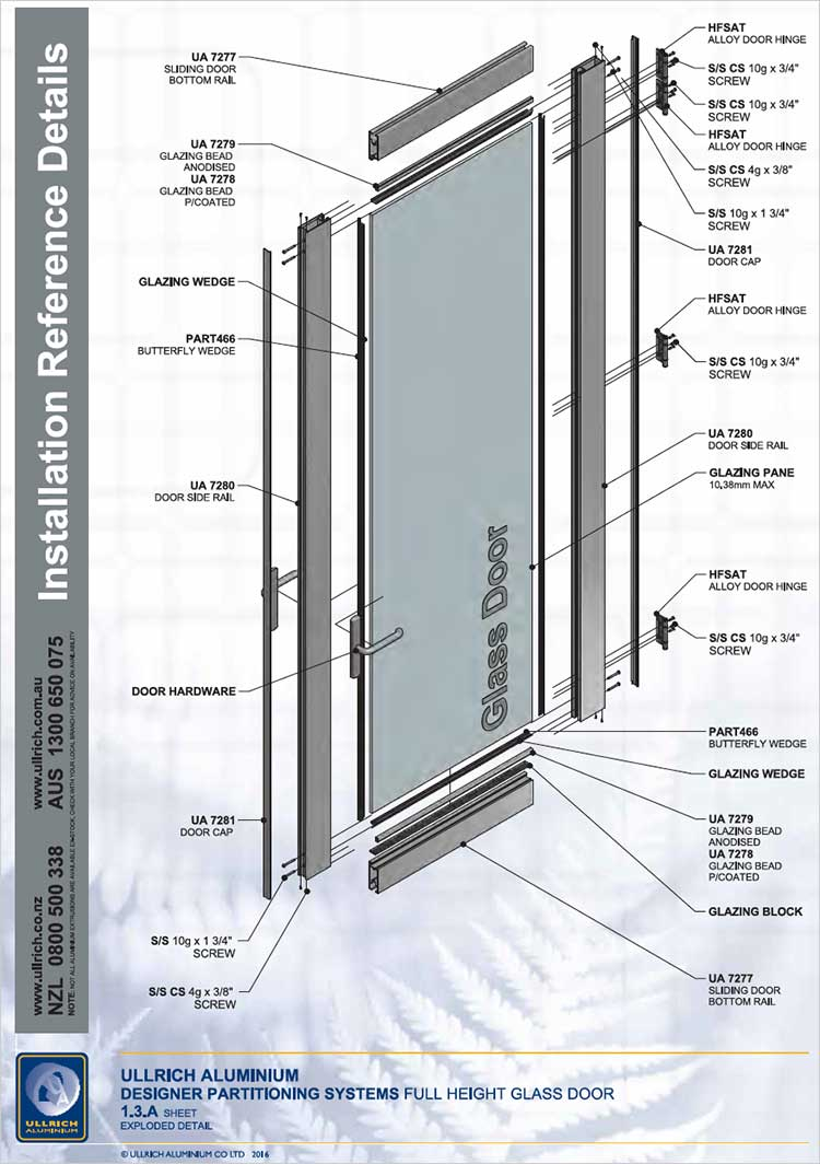 Designer Partitioning System - full height glass door Exploded detail