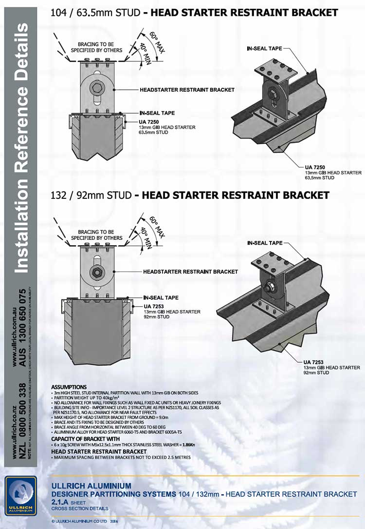 Designer Head starter restraint bracket assembly instructions cross section details