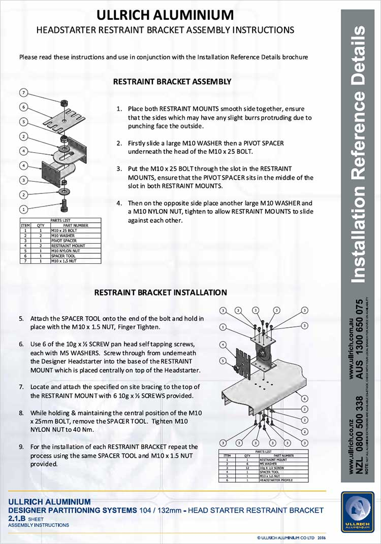 Designer Partitioning System Designer Head starter restraint bracket assembly instructions