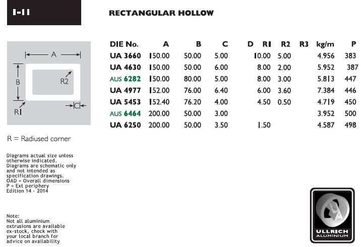 Rectangular hollow tube aluminium extrusions and extruded