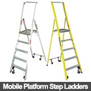 Mobile platform step ladders from Ullrich Aluminium