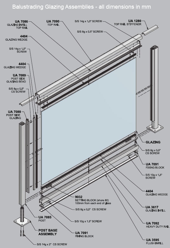 Aluminium glass balustrade systems