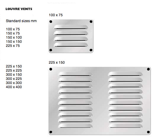 Louvred vents in aluminium